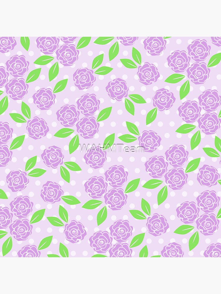 Shabby Chic Purple Flowers Green Leaves on a Purple Background  by WAHMTeam