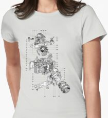 Nikon camera diagram attributed to 'J.leGuernic, 1976'. Women's Fitted T-Shirt