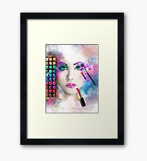 Woman face. fashion illustration. make up,abstract Framed Print