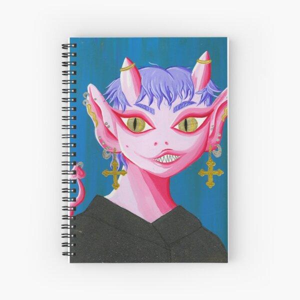 Adorable peinture de portrait acrylique et or démon extraterrestre Cahier à spirale