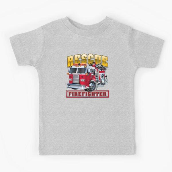Vector Cartoon Fire Truck Kids T-Shirt