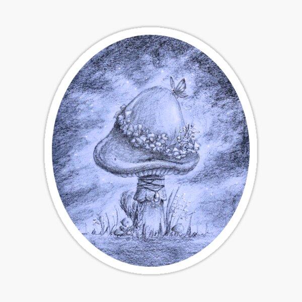 Fairy Mushroom (Indigo Round) Sticker