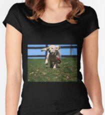 """Golden Retriever Puppy On The Run..."" Women's Fitted Scoop T-Shirt"