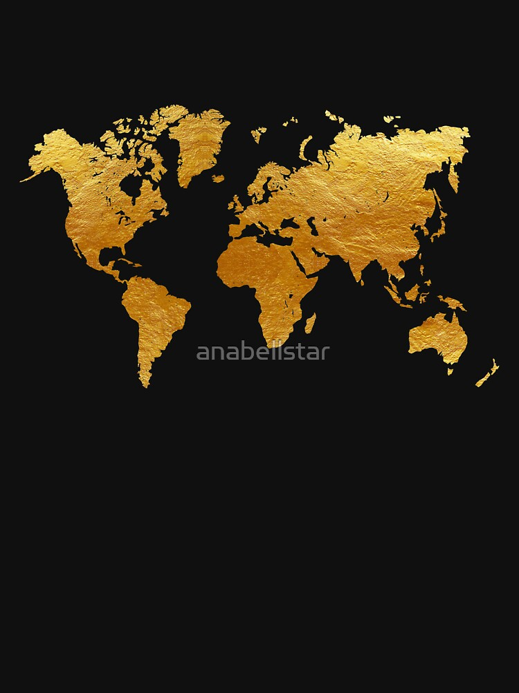 Black And Gold World Map T Shirt By Anabellstar Redbubble