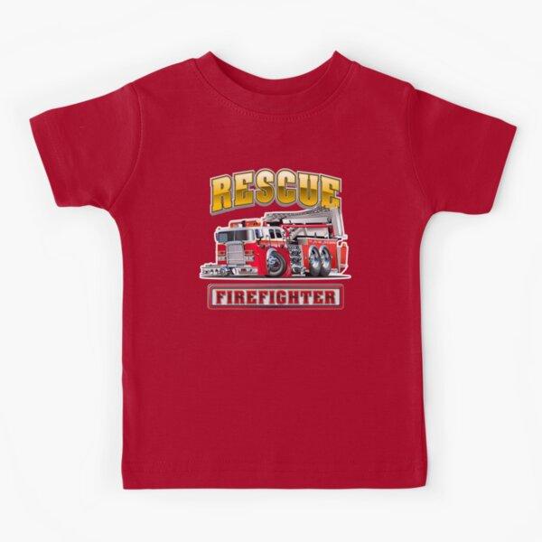 Cartoon Fire Truck Kids T-Shirt