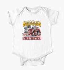 Cartoon Fire Truck One Piece - Short Sleeve
