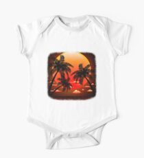 Warm Topical Sunset with Palm Trees One Piece - Short Sleeve