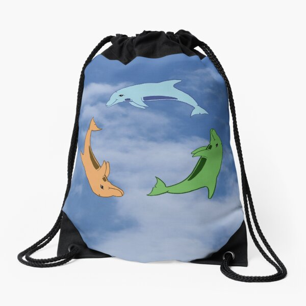 Tricolour Dolphin Circle by Moti for the West Braes Project Drawstring Bag