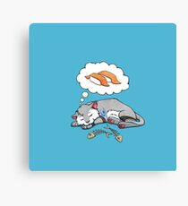 Kitteh dreams of sushi Canvas Print