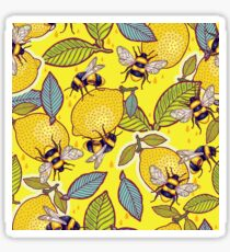 Yellow lemon and bee garden. Sticker