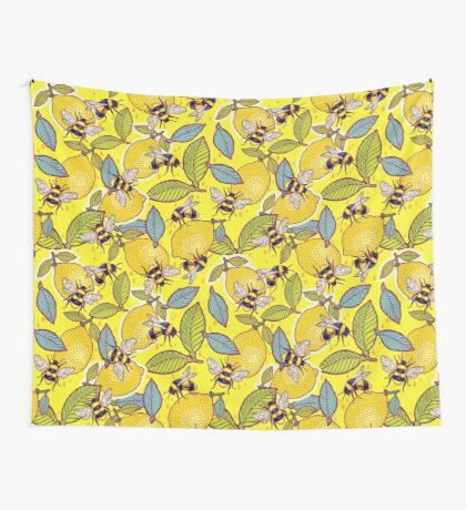 Yellow lemon and bee garden. Wall Tapestry