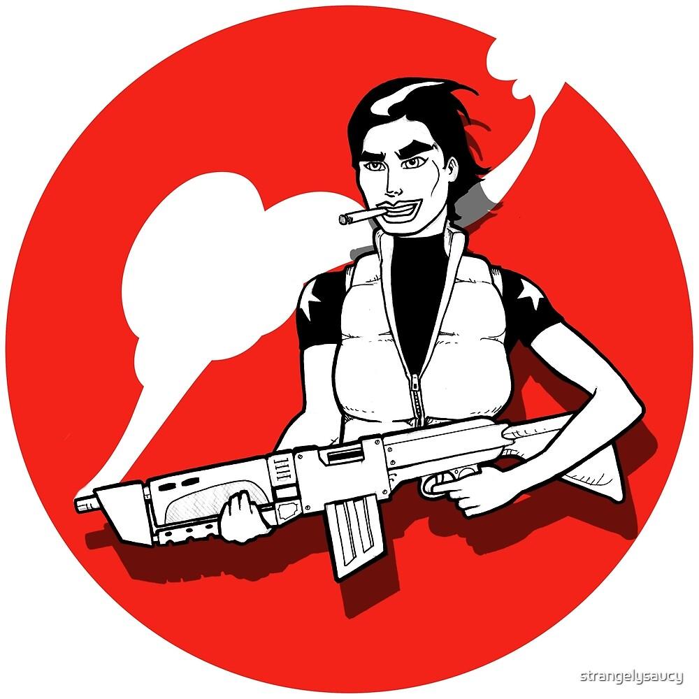 Girl and a gun by strangelysaucy