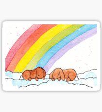 Two Lop Eared Bunnies sleeping under a rainbow Sticker