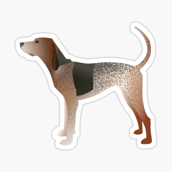 American English Coonhound Basic Breed Silhouette Illustration Sticker