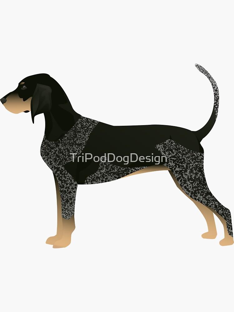 Bluetick Coonhound-grundlegende Zucht-Schattenbild-Illustration von TriPodDogDesign