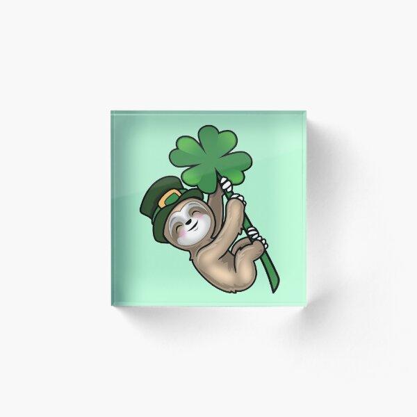 Lucky clover Sloth St Patricks Day  Acrylic Block