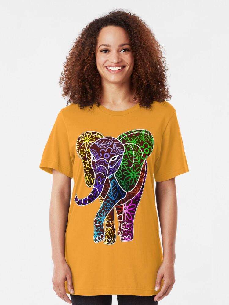 Colorful Rainbow Psychedelic Elephant Art Unisex T shirt