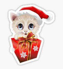 Kitten Christmas Santa with Big Red Gift Sticker