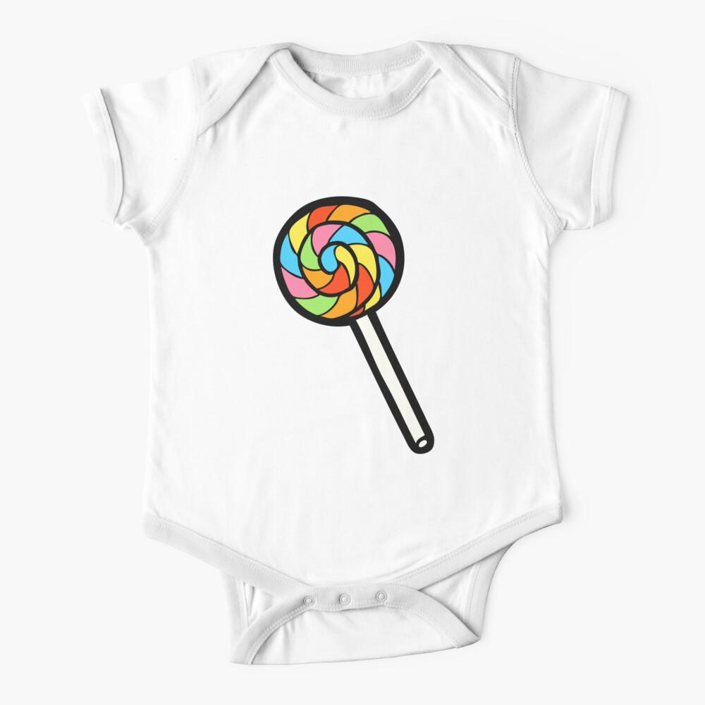 Rainbow Lollipop Pattern Short Sleeve Baby One-Piece