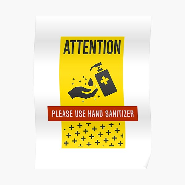 Covid-19 Hand Sanitize Disinfect Safety Poster Sign Signage Warning Caution Covid Covid19 Covid2020 Coronavirus Poster