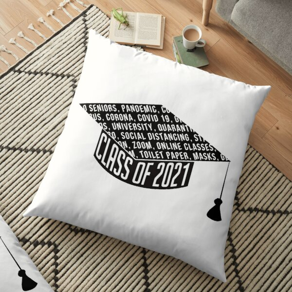 Class of 2021 Graduation Cap Typography Floor Pillow
