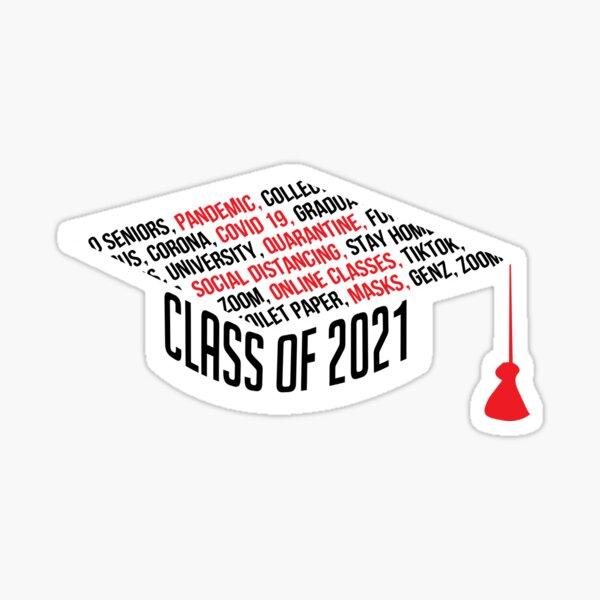 Class of 2021 Graduation Cap Typography Black Sticker