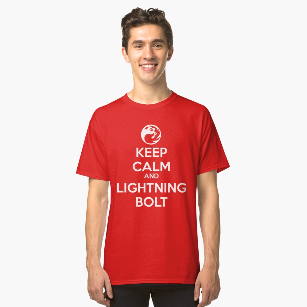 Keep Calm and Lightning Bolt Classic T-Shirt Front