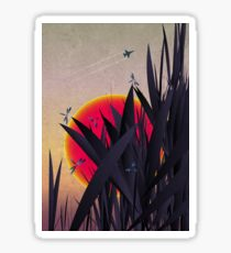 Red Heat (with Dragonflies) Sticker