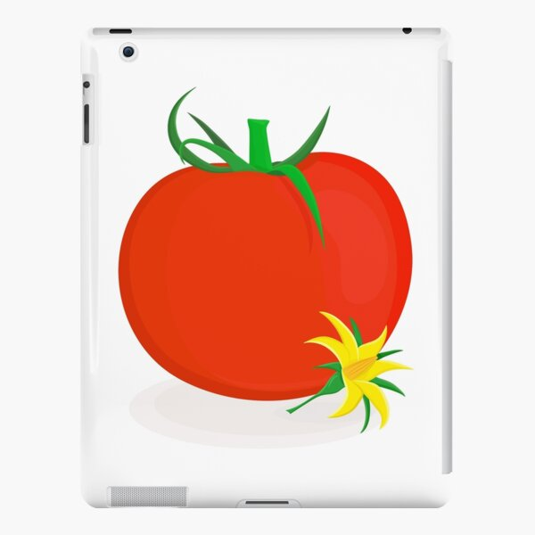 Ripe tomato with green stalk and yellow tomato flower lying near it iPad Snap Case