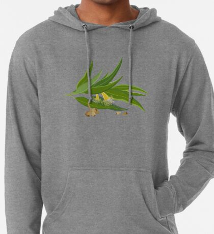 Eucalyptus twig with leaves, flowers and seeds Lightweight Hoodie