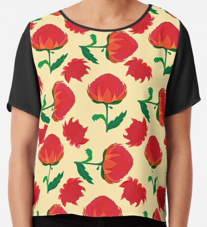 Bright waratah pattern Chiffon Top