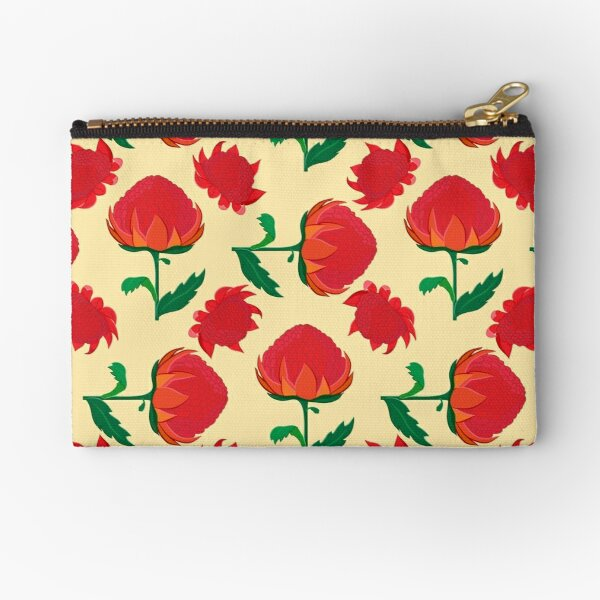 Bright waratah pattern Zipper Pouch