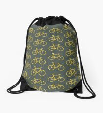 Yellow Bike Drawstring Bag