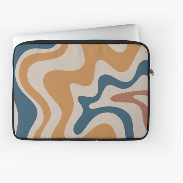 Liquid Swirl Abstract Pattern in Ochre Blue Clay Taupe Laptop Sleeve