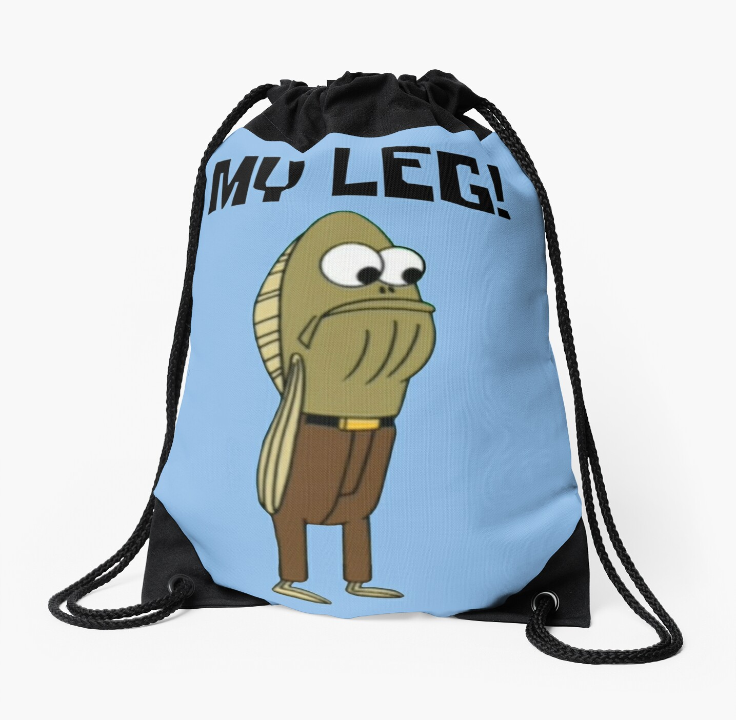 Fred the fish my leg spongebob drawstring bags by for Fred the fish
