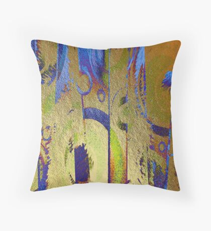 Gold Leaf Layers Abstract II Throw Pillow