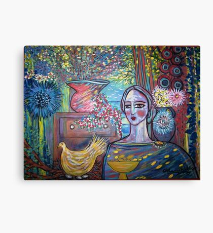 Lady in a cave  Canvas Print