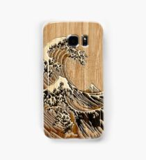 The Great Hokusai Wave in Bamboo Inlay Style Samsung Galaxy Case/Skin