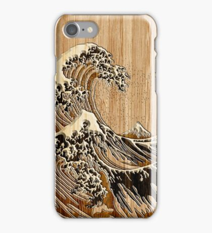 The Great Hokusai Wave in Bamboo Inlay Style iPhone Case/Skin