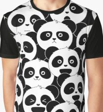 Some Pandas on Black Graphic T-Shirt