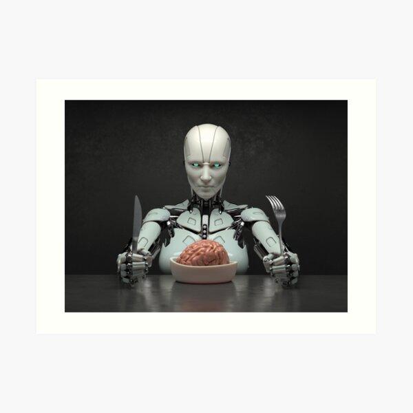 robot eats the human brain Art Print