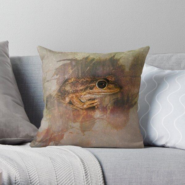 Praying Frog Throw Pillow