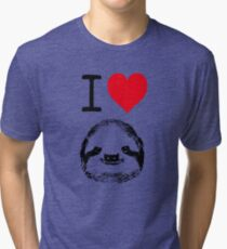 I Love Sloths Tri-blend T-Shirt