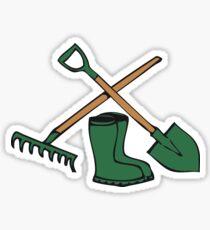 Garden shovel rake gummistiefel Sticker