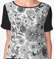 Intricate B & W Flowers Chiffon Top