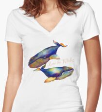Love the Whales Women's Fitted V-Neck T-Shirt