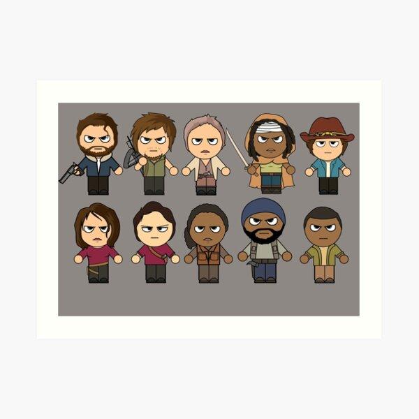 The Walking Dead - Main Characters Chibi - AMC Walking Dead Art Print