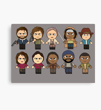 The Walking Dead - Main Characters Chibi - AMC Walking Dead Canvas Print
