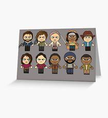 Tarjeta de felicitación The Walking Dead - Personajes principales Chibi - AMC Walking Dead