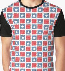 Red White & Blue Blocks with Stars  Graphic T-Shirt
